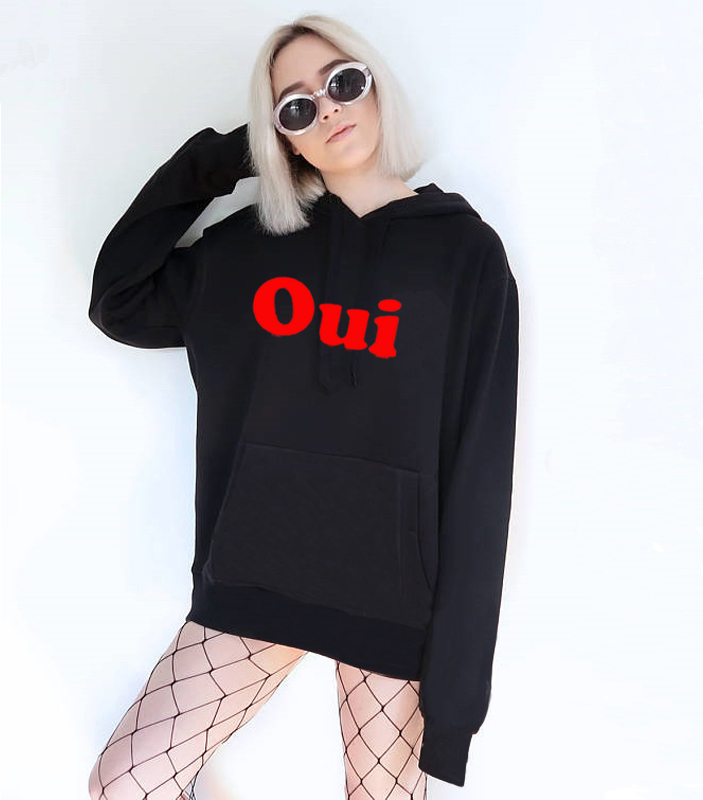 3e330469b570 Oui red French Retro Slogan T-shirt Unisex Hoodie Tumblr Fashion Sweatshirt  XXXL