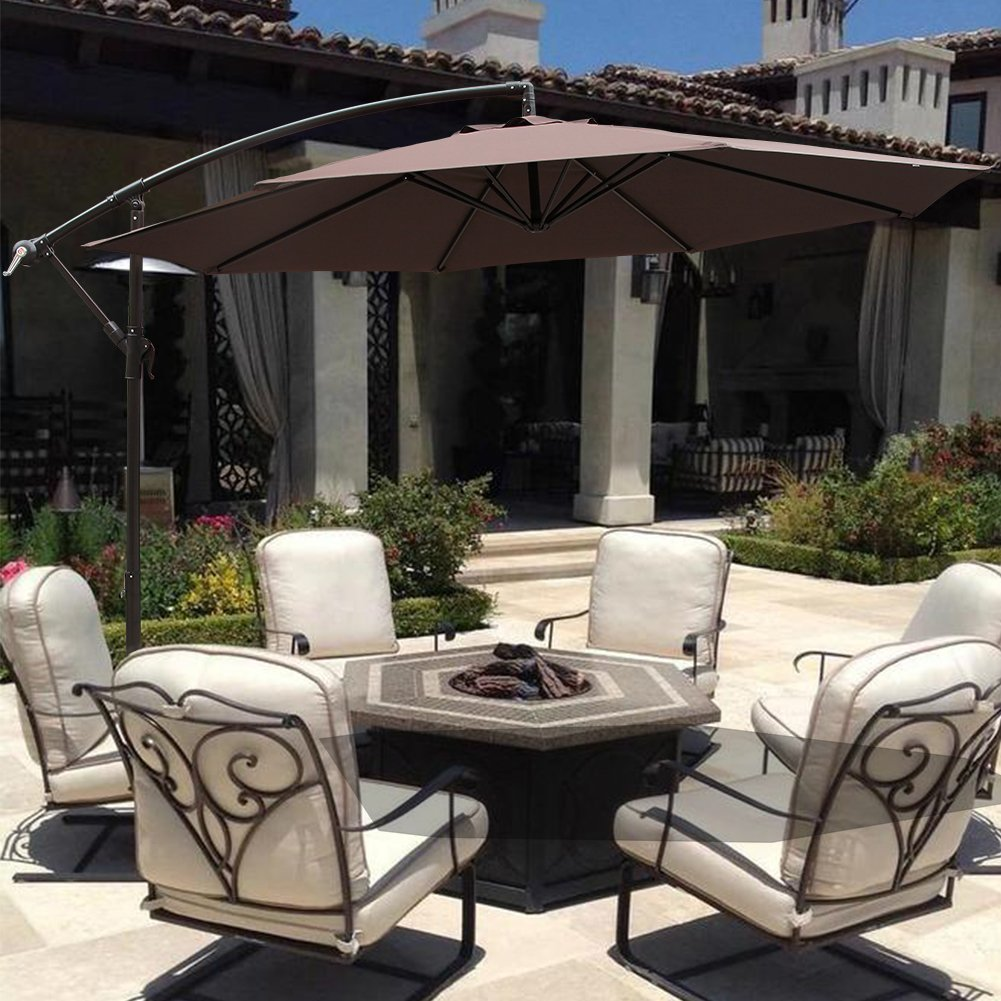 10 u0027 ft hanging umbrella patio sun shade offset outdoor market w