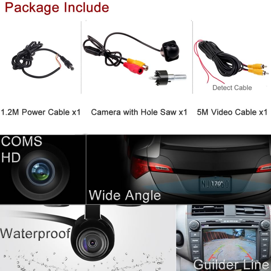 MIni Car 18MM Hole Saw Rear Side View Backup Parking Camera Without Guide Line