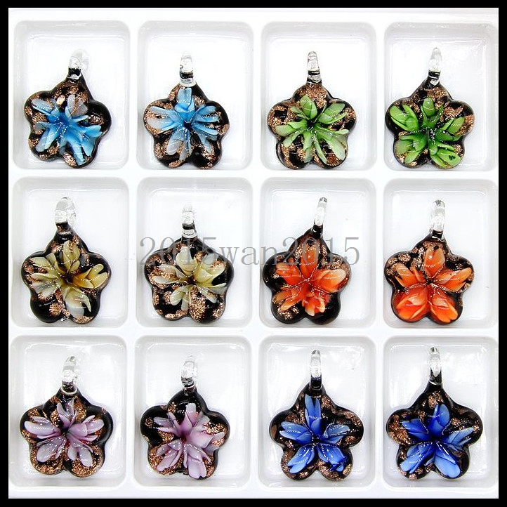Fashion Women/'s Flowers lampwork Murano art glass beaded pendant necklace #M231