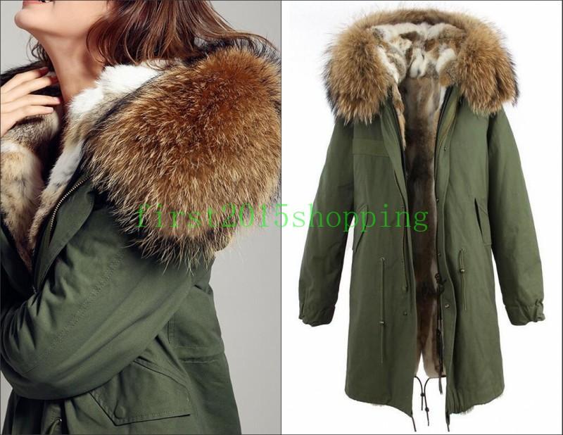 JAZZEVAR women's army green Large color raccoon fur hooded