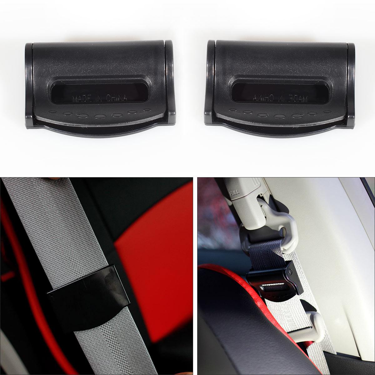 2pcs  Car Safety Seat Belt Adjuster Clip Clamp Shoulder Neck Comfort Black New