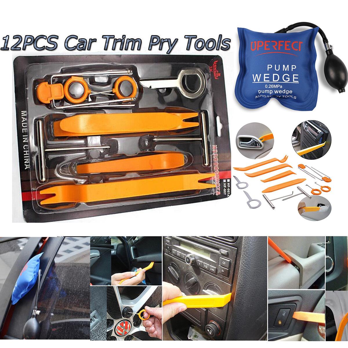 12pcs Car Panel Removal Open Pry Tools Kit Dash Door Radio Trim Pump Wedge hr