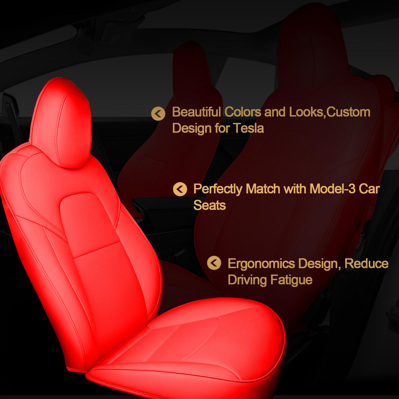 Car Seat Covers Set Custom for Tesla Model 3 Red PU ...