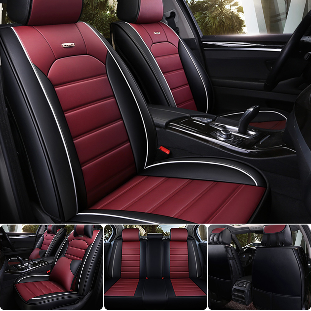 13pcs Protective Car Seat Covers W//Steering Wheel Cover Red Black For Ford