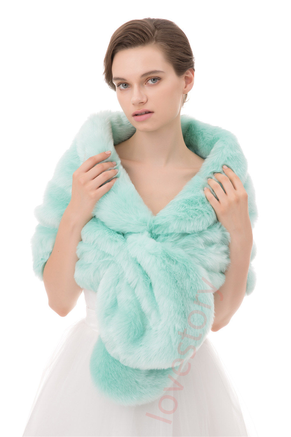 Winter Women Shrug Faux Fur Shawl Wrap Wedding Stole Cover Up For ...