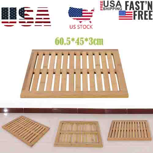 Bamboo Floor /& Bath Mat Wood Color 60.5*45*3cm US