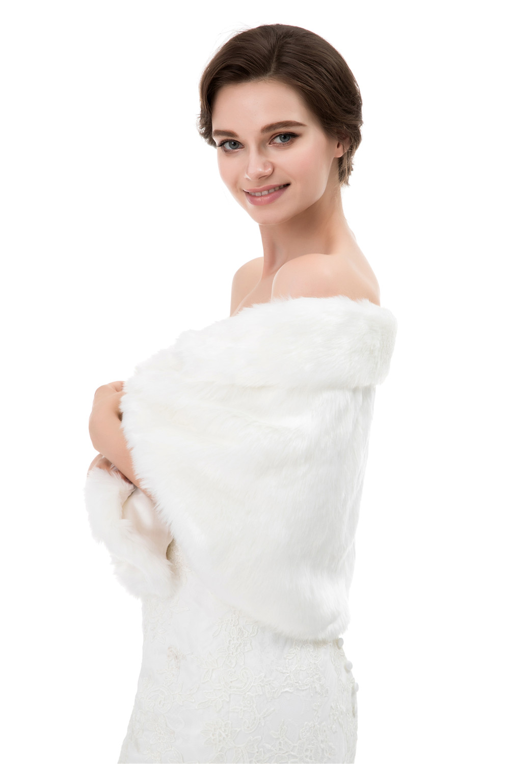 Winter Women Faux Fur Shawl Wrap Wedding Stole Cover Up For Bridal\'s ...