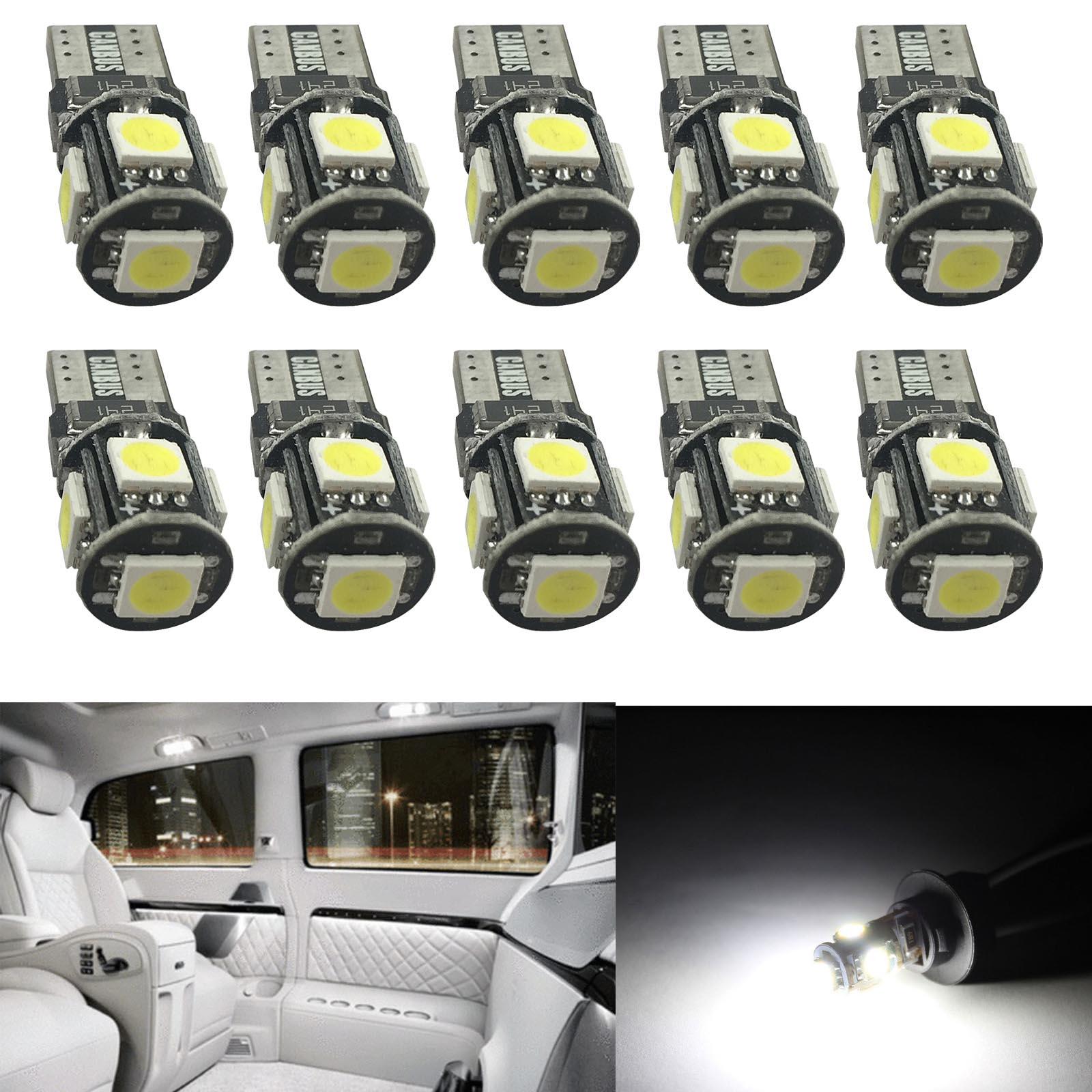 10x T10 5050 W5W 5 SMD 194 168 LED White Car Side Wedge Tail Light Lamp Bulb 12V