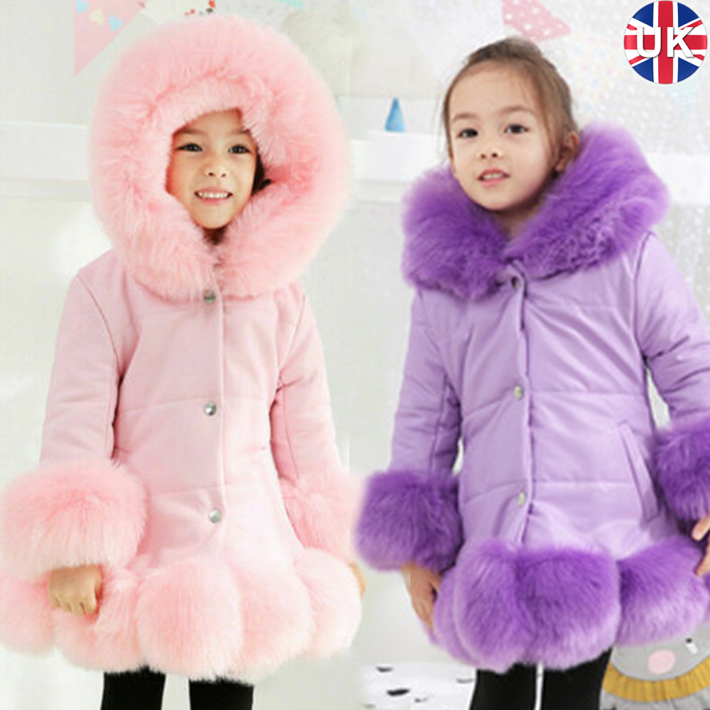 GIRLS QUILTED WINTER WARM PADDED COAT PUFFER FUR COLLAR HOODED KIDS PARKA JACKET