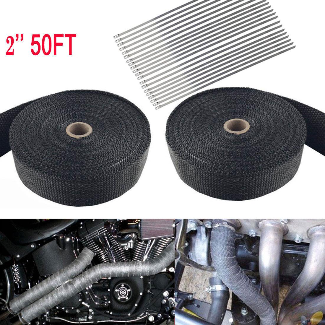 "20 Ties Kit 2Roll x 2/"" 50Ft Black Fiberglass Exhaust Header Pipe Heat Wrap Tape"
