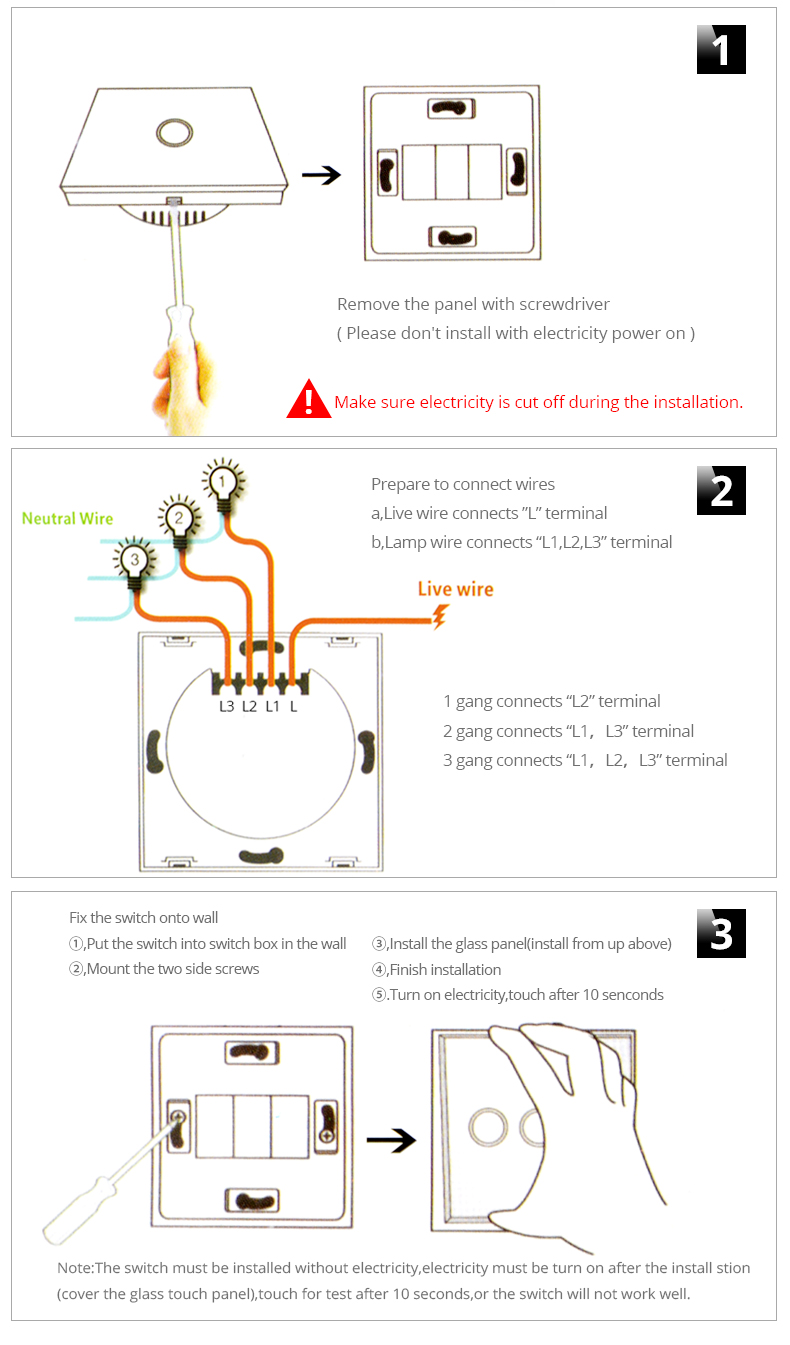 Eu Uk Plug Panel Smart Touch Wall Light Switch 1 2 3 Gang Way Receptacle Box Wiring Diagram