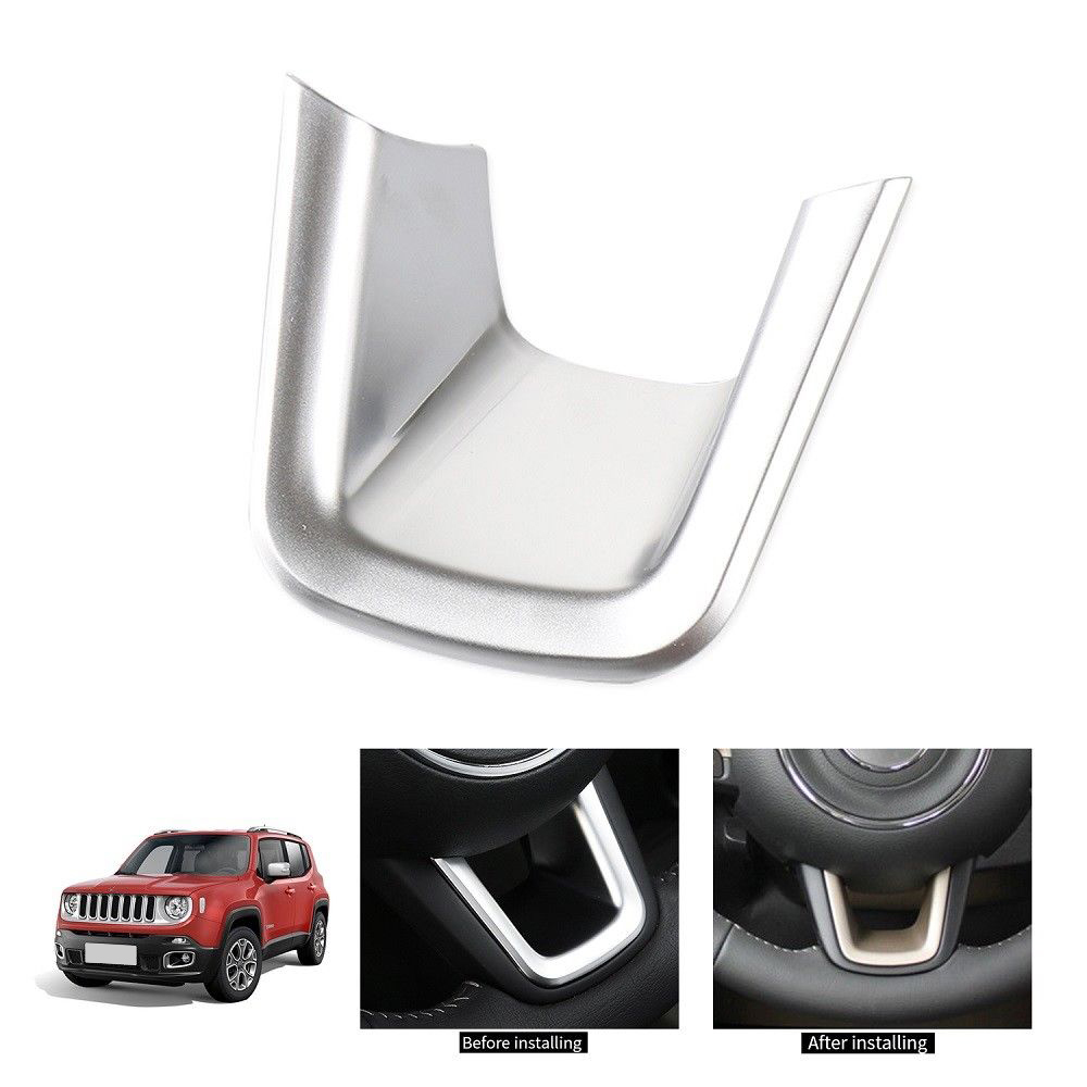 Details About Chrome Steering Wheel U Shaped Decor Cover Trim For Jeep Renegade Compass 2015