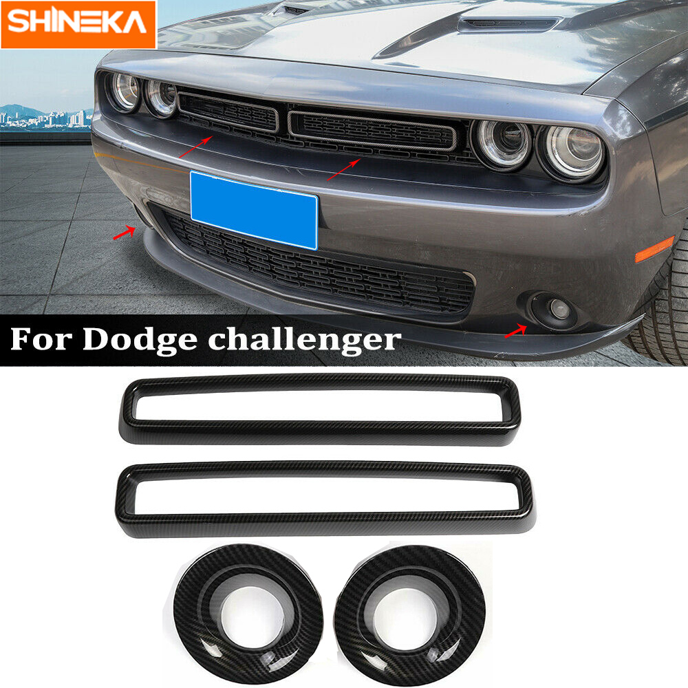 Grille Grill Insert+Front Fog Light Cover Trim for Dodge Challenger Carbon Fiber