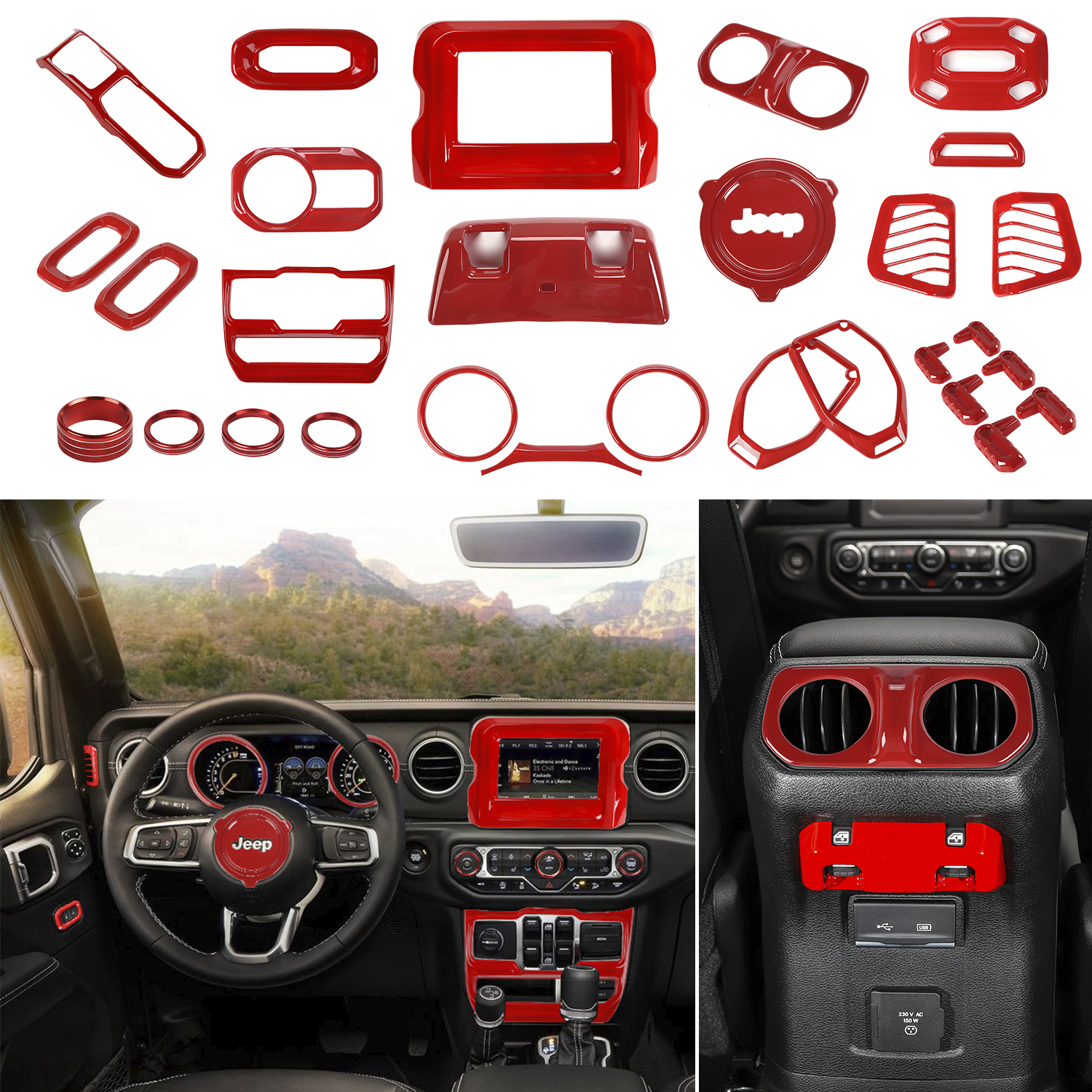 NO7RUBAN Carbon Fiber Style Full Set Interior Decoration Cover Trim for Jeep Wrangler JL 2018 Door Handle bowl,Center Console,Gear Shift,Air Outlet,Headlight Gear Shift Pane Control Center Console