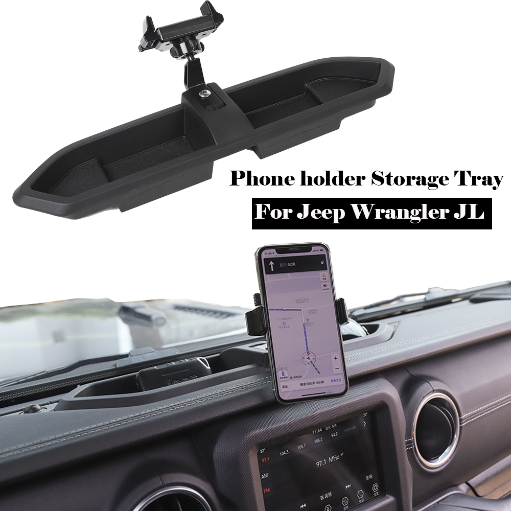 Car ABS Phone Bracket,Central Control Dashboard Storage Box with Phone Holder for Phone,Mini Ipad for Jeep Wrangler JL 2018-2019