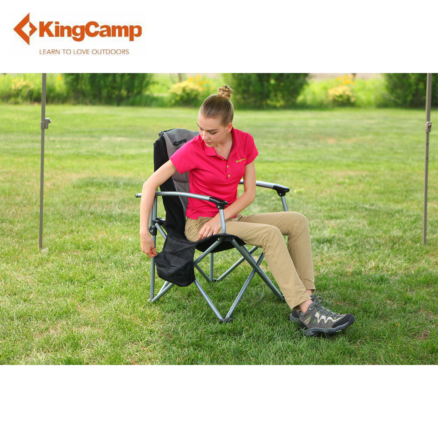 KingCamp Camping Folding Arm Chair Director Portable with Cooler