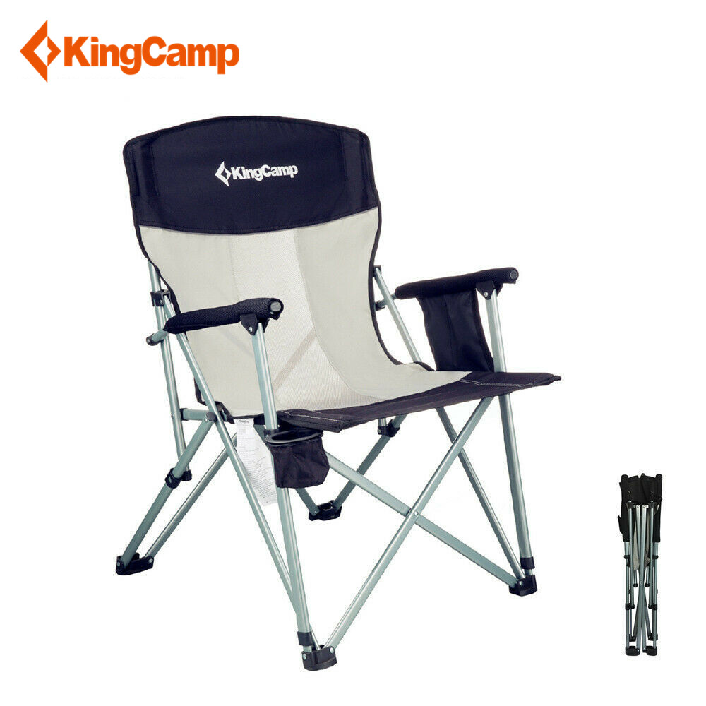 KingCamp Camping Mesh Chair Breathable with Folding Hard Arm Headrest Cup Holder