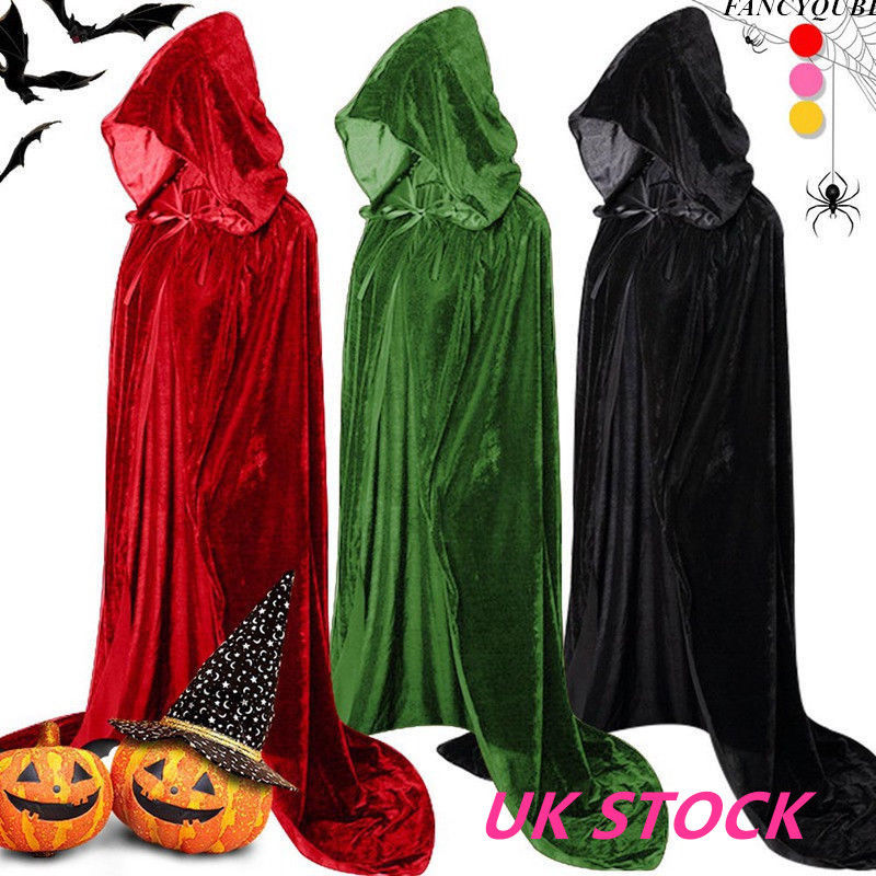 Adult//Kid Halloween Hooded Cloak Cape Hood Medieval Costume Witch Wicca Vampire