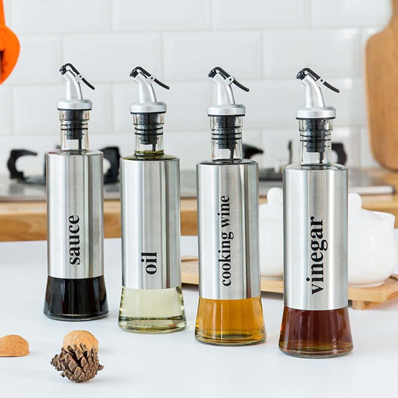 Stainless Steel Oil Bottle Vinegar Bottles Kitchen Condiment Bottles Dispensers