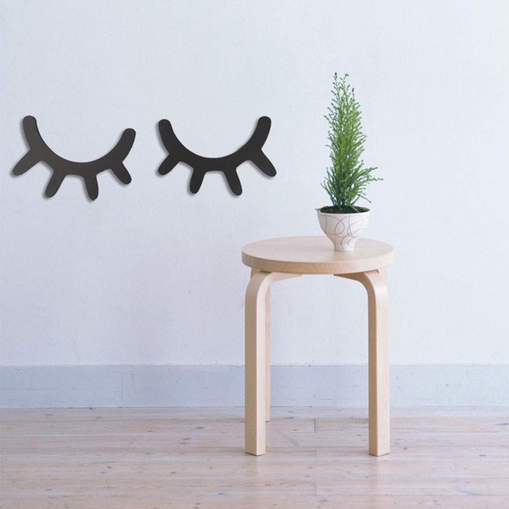 CG/_ KQ/_ FP 2Pcs Cute Wooden 3D Eyelash Wall Sticker Children Kids Room Home Dec