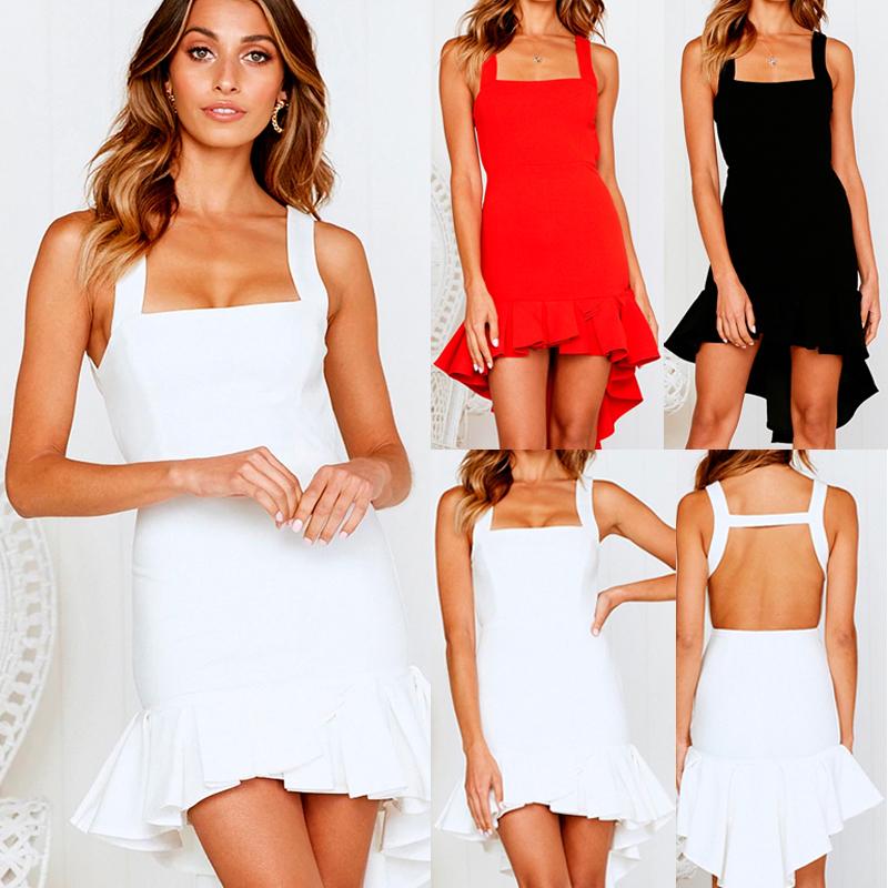 UK Womens Plunge Bodycon Mini Dress Ladies Evening Party Mermaid Dress Size  6-16 931b55b2d