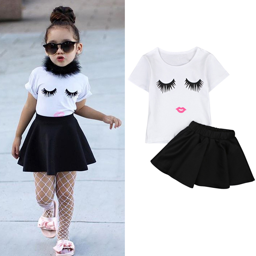 4a08c898b1f8 Baby Kid Girl Eye Lashes Top T-Shirt Shorts Skirt Suit Summer Casual ...