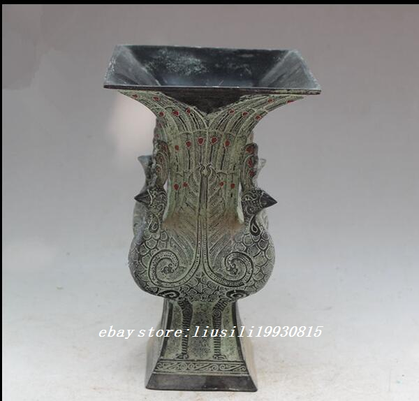 Details About Old China Fengshui Bronze Lifelike Peacock Cup Vase Pot Statue