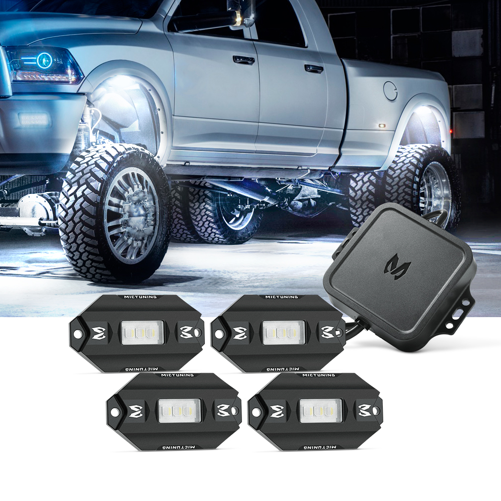 Mictuning Rgbw Offroad Led Rock Light 4 Pods Solid White