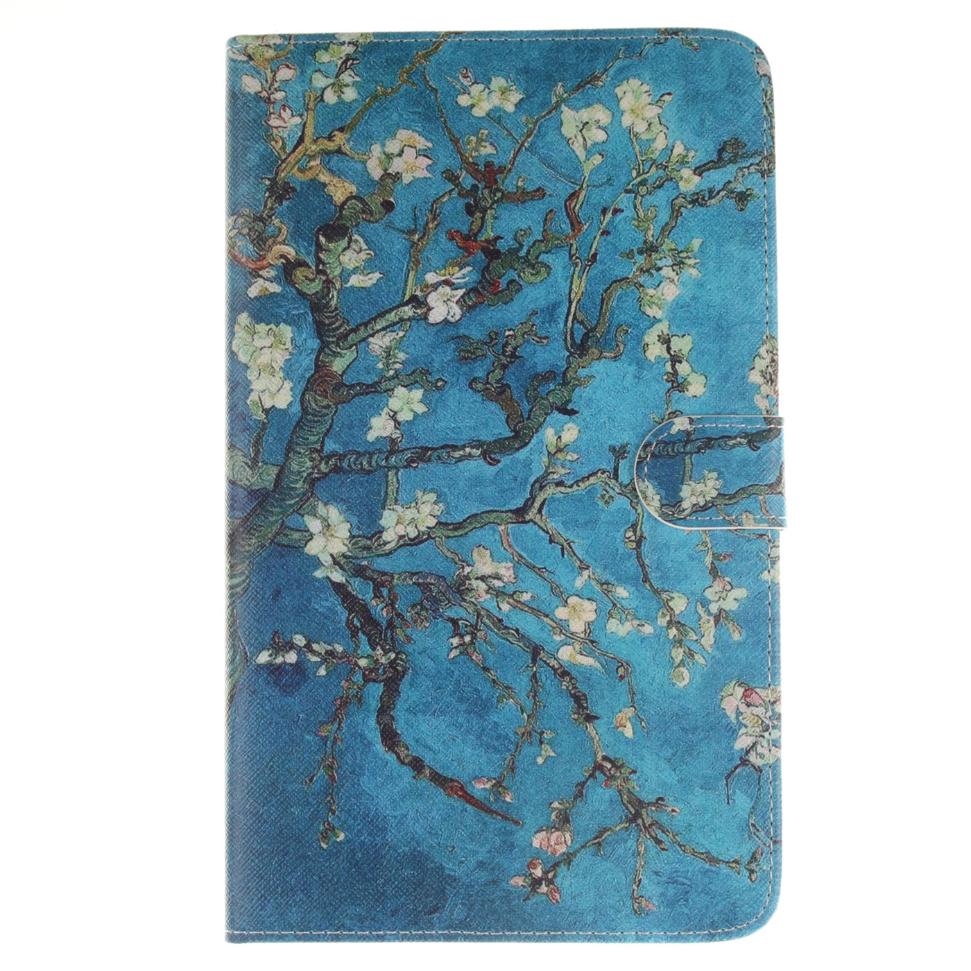 blue almond tree flip magnetic pu leather book stand case cover