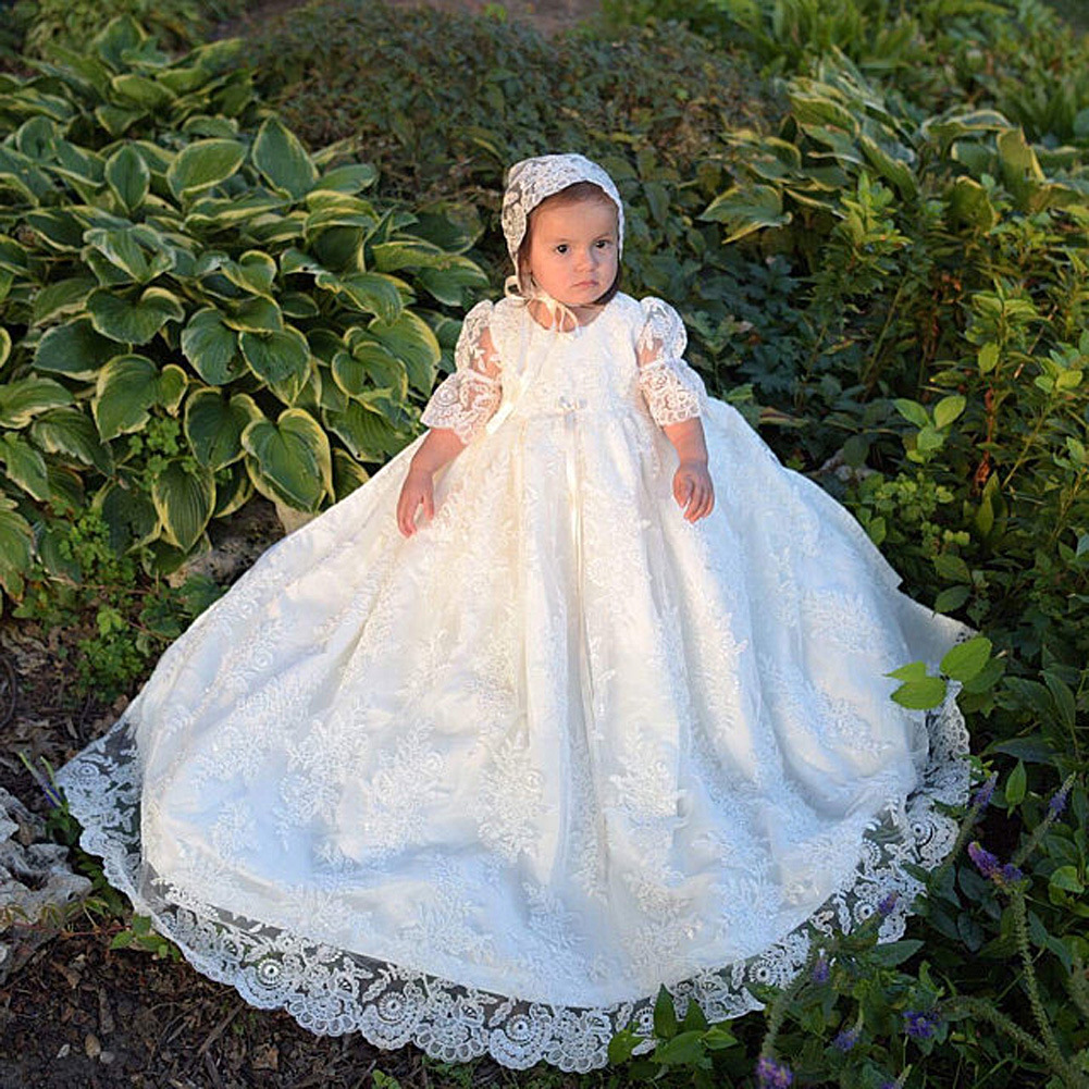 Vintage Christening Dress For Baby Half Sleeve Baptism Gown First ...