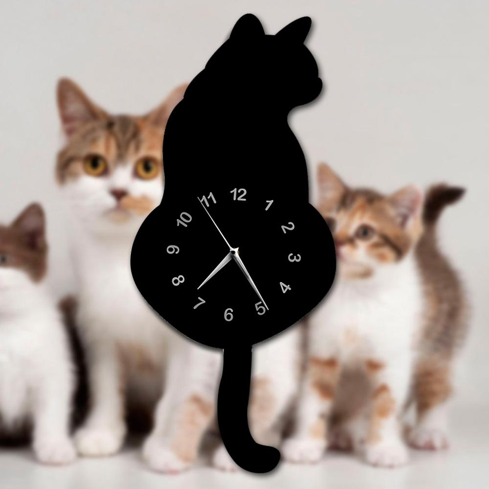 Black Cat Swinging Pendulum Wall Clock Kitty Kitten Time Clock Cat Lover Gift