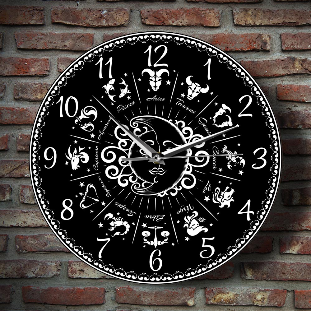 """Signs of the Zodiac Beautiful Astrology Horoscope Themed 12/"""" Silent Wall Clock"""