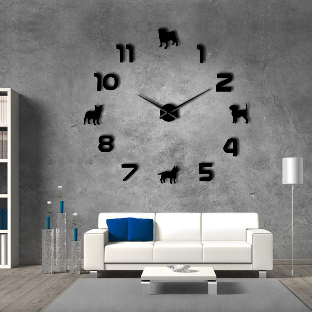 Details about Pug Pit Bull French Bulldog Beagle With Arabic Numerals DIY  Giant Wall Clock