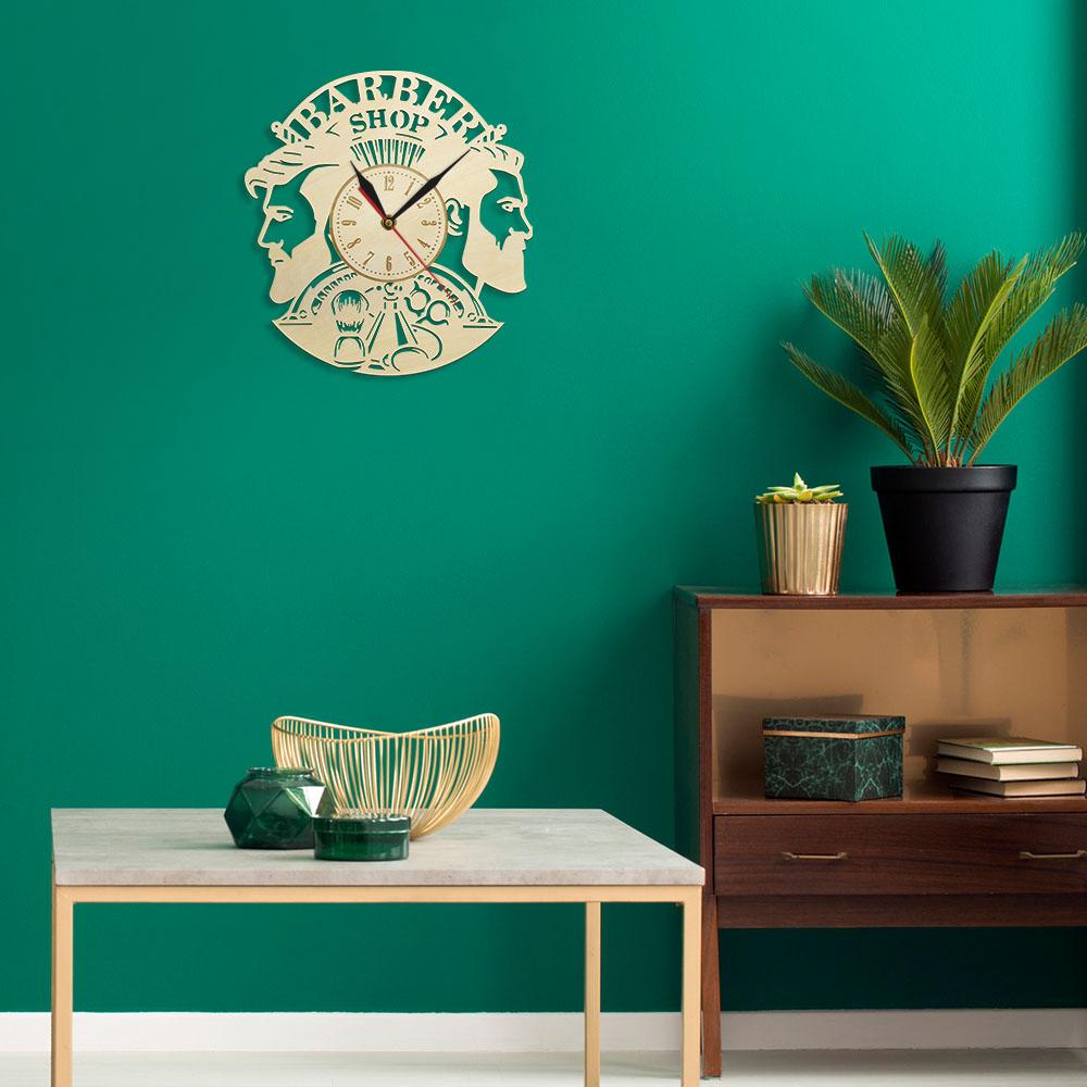Barber Shop Wood Wall Clock Hairdresser Logo Hair Salon Cutter Vintage Watch 8