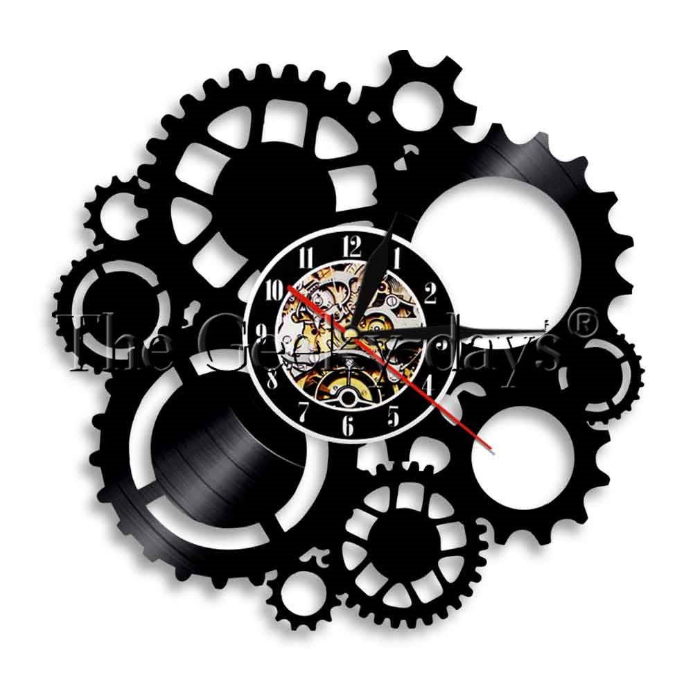 Steampunk Cog Vinyl Record Wall Clock Wires Gear Wall