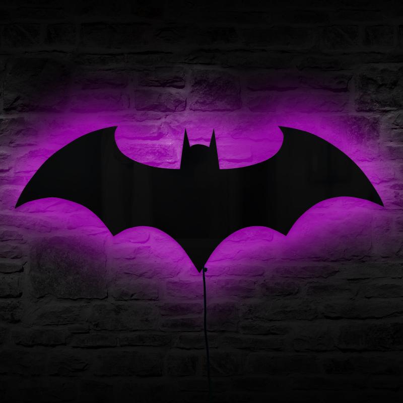Bat Symbol Logo Mirror Wall Light Dark Knight Led Wall Lamp Kids