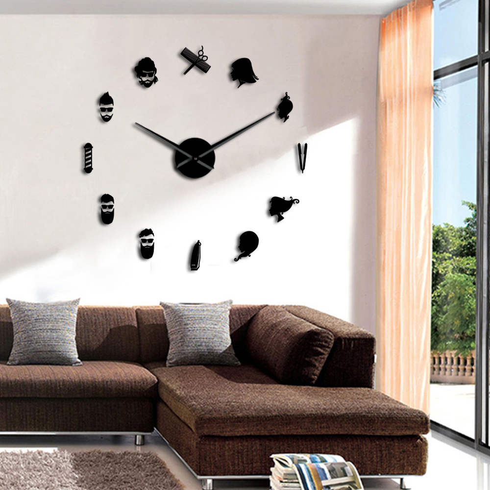 Details About Barber Pole Beauty Salon Diy Wall Art Giant Clock Frameless Watch