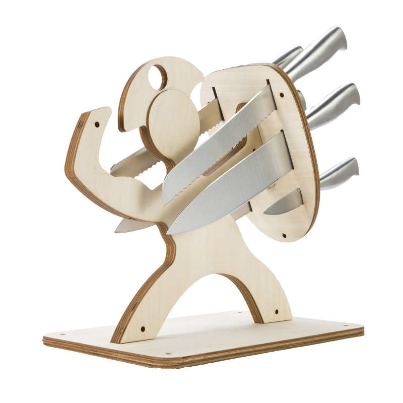 DIY Wooden Knife Rack Spartan Warrior Magnetic Knife ...