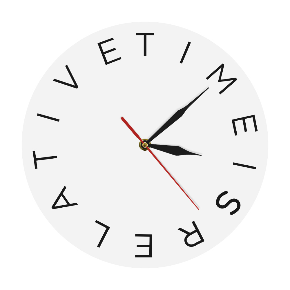 Brilliant Details About Time Is Relative Acrylic Wall Clock Modern Round Decor Clock Simple Home Decor Download Free Architecture Designs Rallybritishbridgeorg
