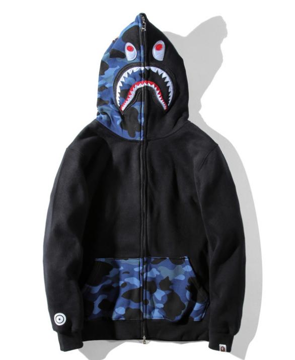 fcdfb927 Details about HOT A Bathing Ape Bape Shark Head Plus Fleece Camo Hoodie  Jacket Sweatshirt COAT