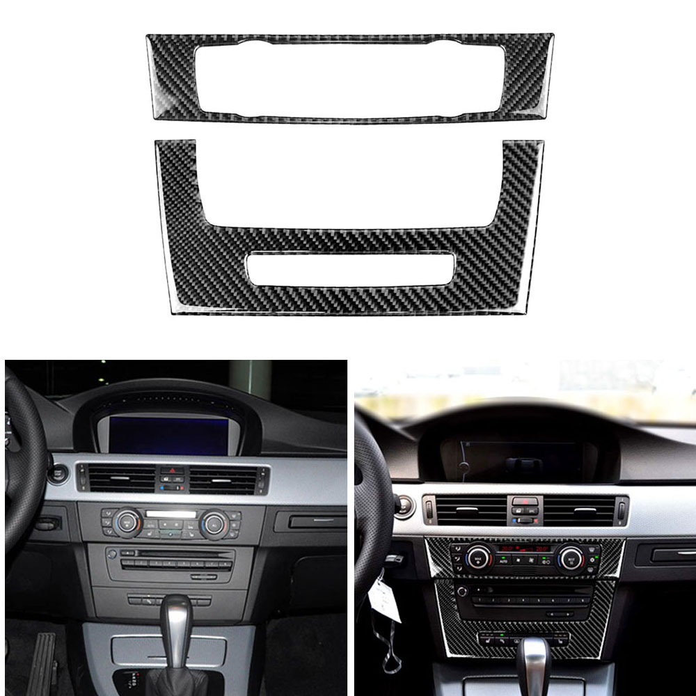 Carbon Fiber Air Conditioning CD Control Panel WithHole Sticker For BMWE90 05-12