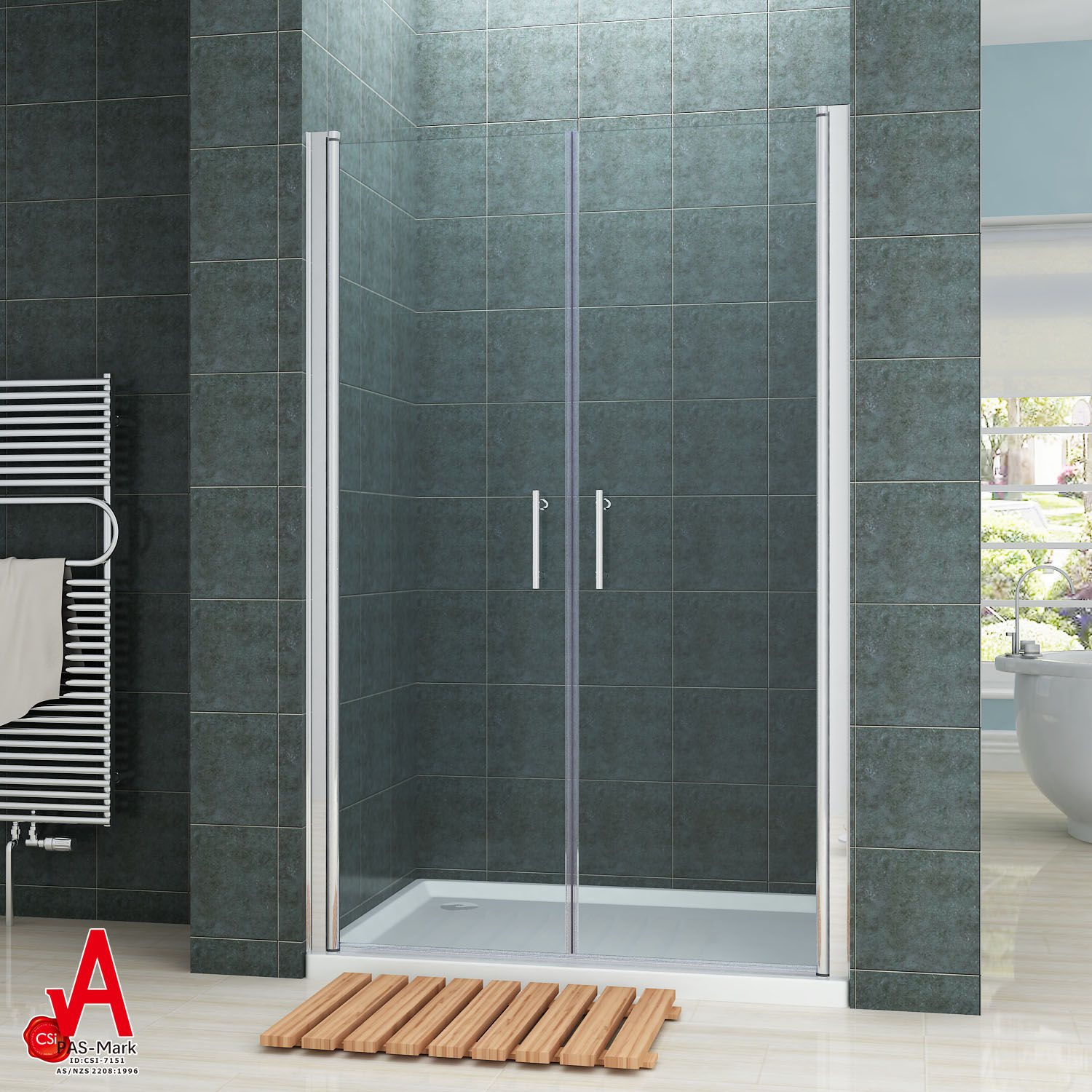 Frameless Shower Screen Enclosure Double Pivot Swing Door Wall To
