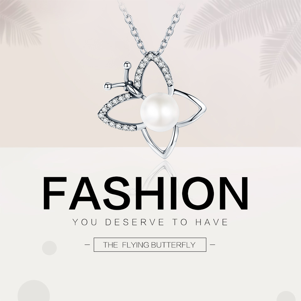 Voroco New 925 Sterling Silver Charm Necklace Butterfly Chain Pearl /& CZ Jewelry