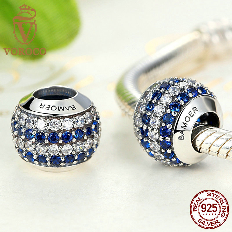 Voroco Authentic 925 Sterling Silver Daisy Charm Blue Crystal Bead For Bracelet