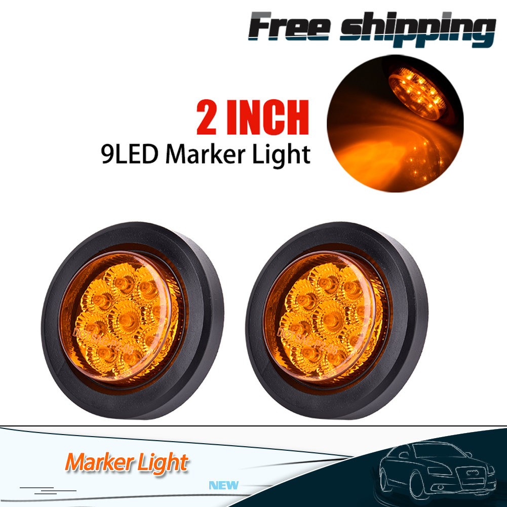 2pcs Amber 2 U0026quot  Round 9 Led Side Marker Clearance Light Rv