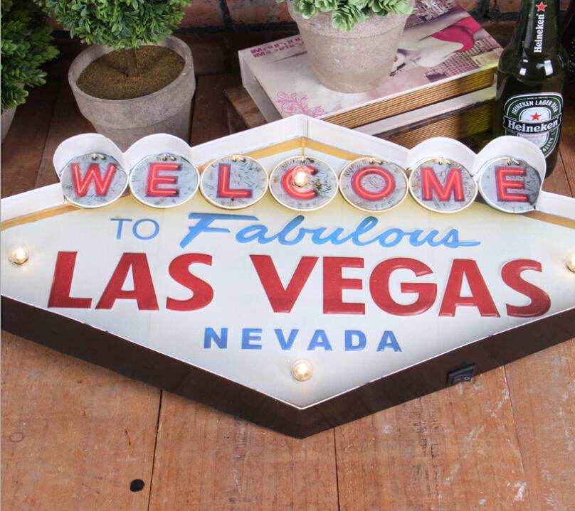Retro Vintage Metal Light Wall Decor Welcome Las Vegas Cafe Pub Bar LED Nevada