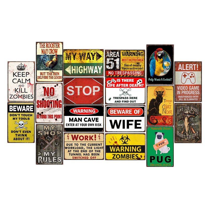 Metal Tin Sign beware of the pig  Decor Bar Pub Home Vintage Retro