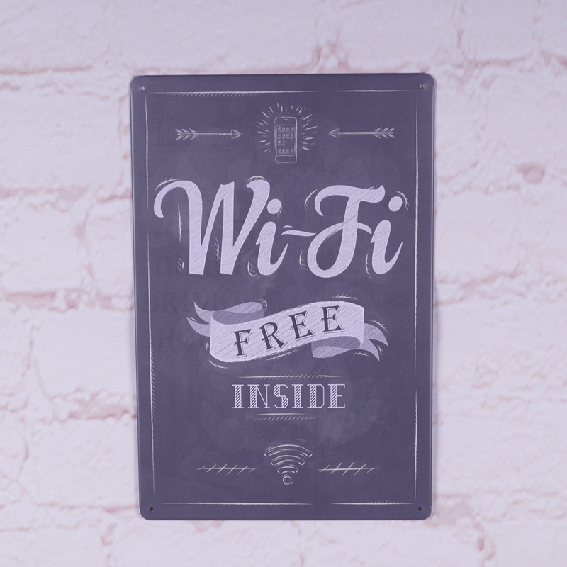 Free Wifi Inside Metal Tin Sign Decor Bar Pub Shop Vintage Retro Poster Cafe Art