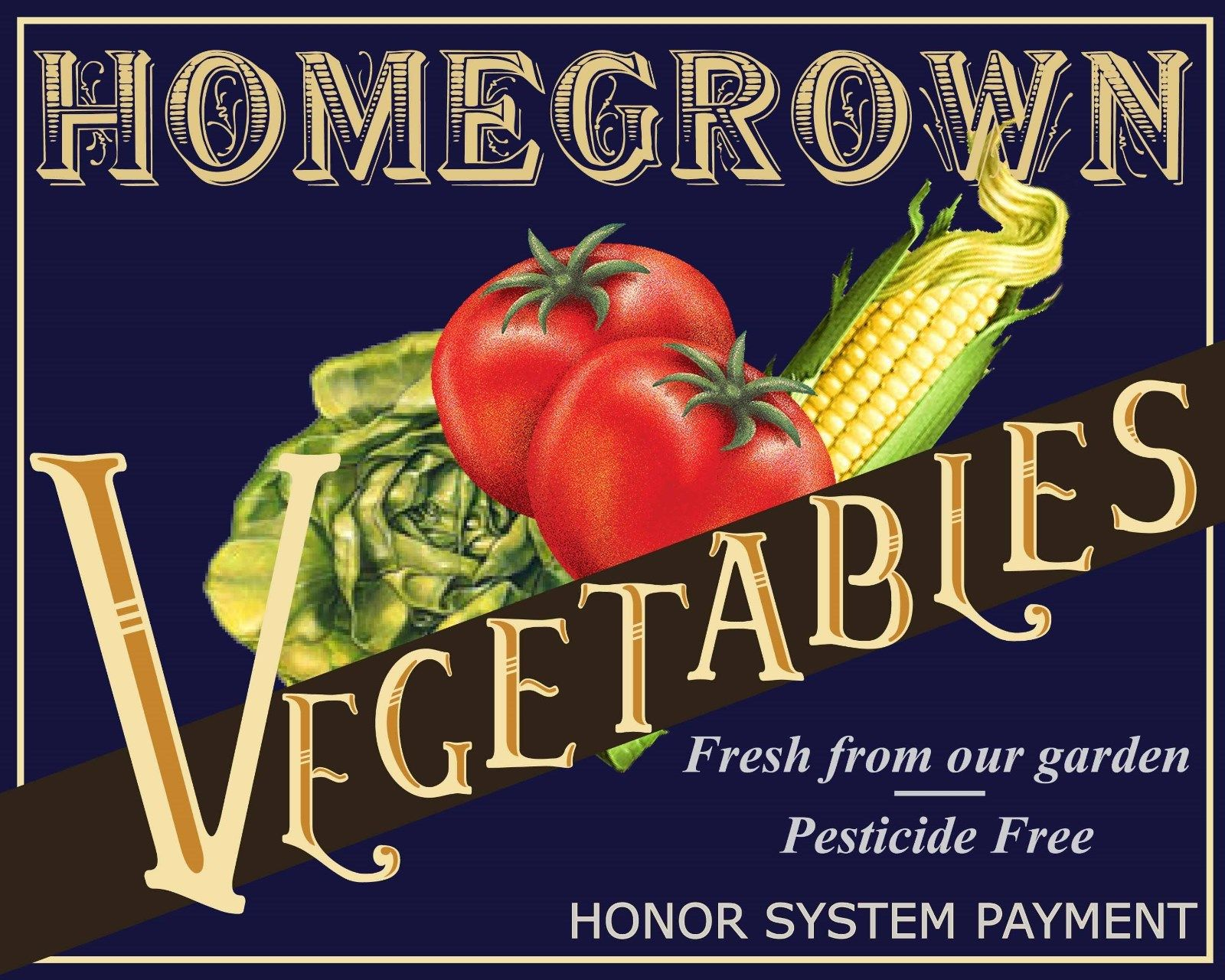 Retro Tin Signs Homegrown Vegetable Poster Metal Plate Wall Decor
